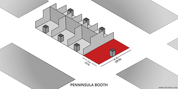 A graphic presenting the peninsula trade show booth type